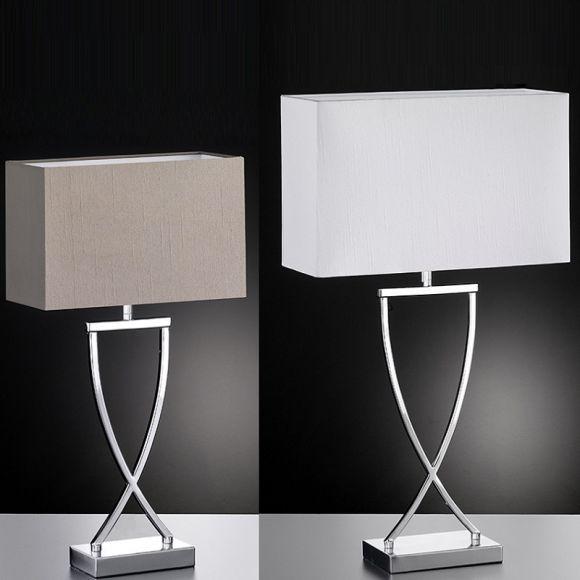 Tischleuchte, modern, Chrom, Fuß Kreuz, LED geeignet, Schirm 2 Farben