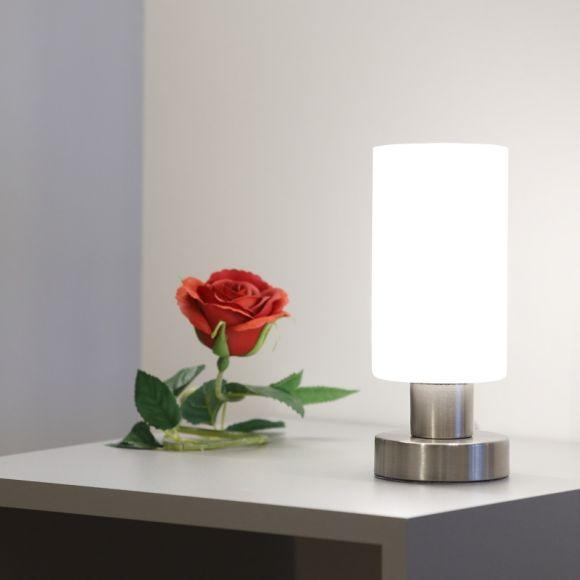 Tischleuchte - Nickel-matt - Opalglas - Inklusive LED