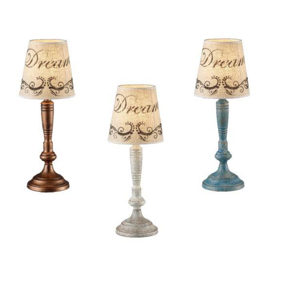 Tischleuchte, Schirm im Vintage-Look, drei Farben