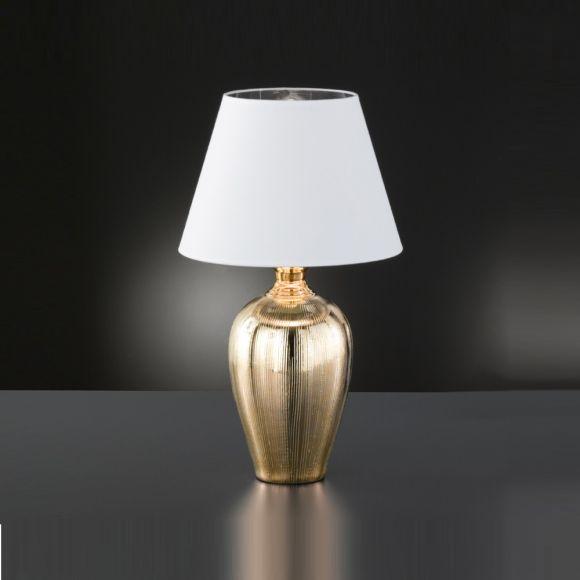 Tischleuchte Vasenleuchte, Keramikfuß 2 Farben, Stoff- Textilschirm konisch weiß