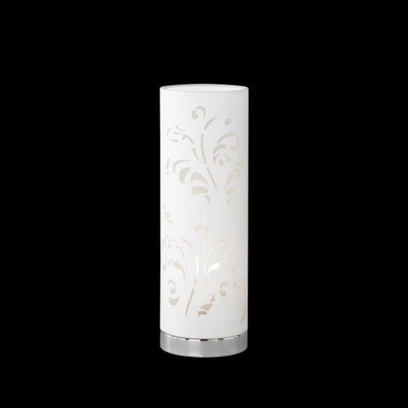 Tischleuchte, zylinderförmig, florales Design, Weiß o. Cuppuccino