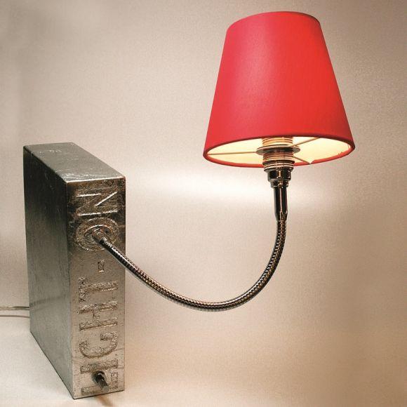 Top Light Buchstütze Light On Blattsilber, Kopf Silk, Flexarm 30cm