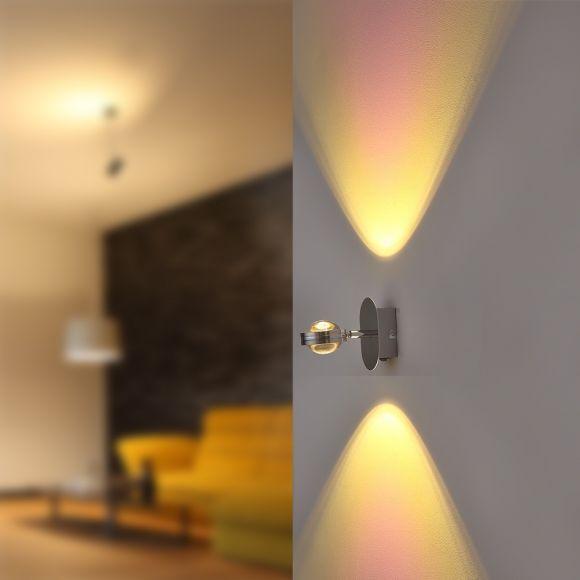 Up&Down LED-Wandleuchte Chrom, mit 2 Regenbogengläsern