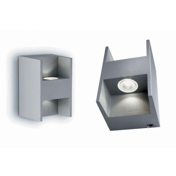 Up&Down LED-Wandleuchte grau, Power LED 2x 2W