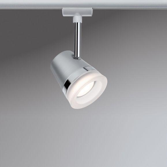 U-Rail LED-Strahler in Chrom-matt - rund 6,5W, 2700K