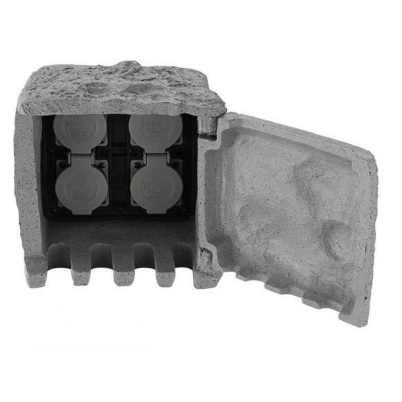 Verteilersteckdose aus Kunststoff in Steinoptik, 4 Steckdosen