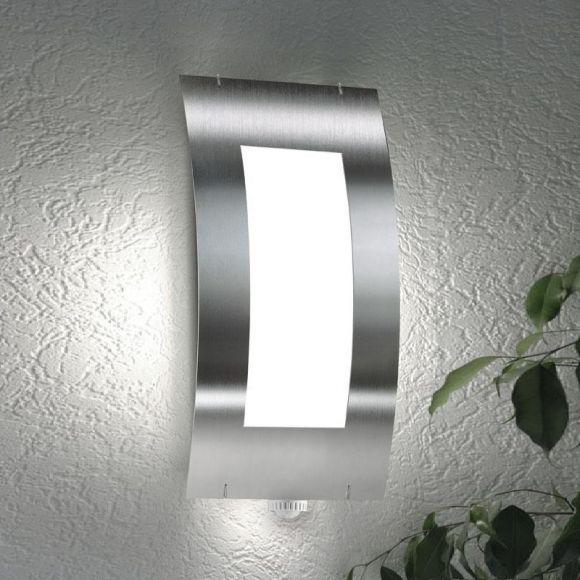 wandleuchte aus edelstahl mit bewegungsmelder f r au en wohnlicht. Black Bedroom Furniture Sets. Home Design Ideas