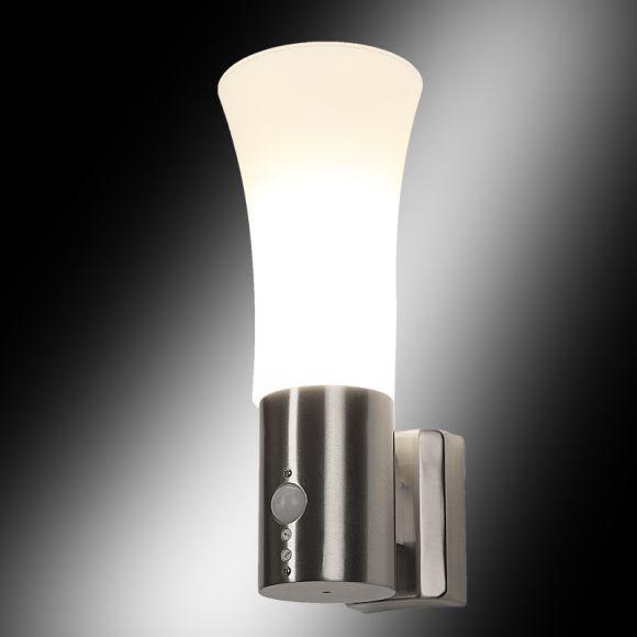 wandleuchte aus edelstahl mit bewegungsmelder milchglas wohnlicht. Black Bedroom Furniture Sets. Home Design Ideas