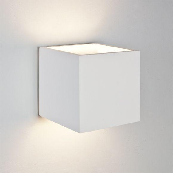 LHG Wandleuchte aus Gips in weiß - 16,5x16,5cm - inklusive Leuchtmittel 1x E27 60W