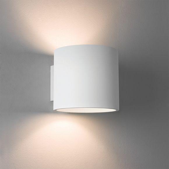 Wandleuchte aus Gips in Weiß - up & down - inklusive Leuchtmittel 1x E27 60W