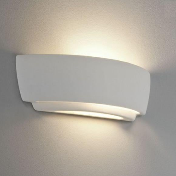 LHG Wandleuchte aus Gips - Breite 36,7cm - inklusive Leuchtmittel 60W E27
