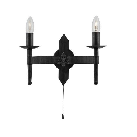Wandleuchte Cartwheel in matt Schwarz  2-flammig