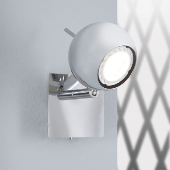 Wandleuchte in Chrom mit Direktschalter und schwenkbarem Leuchtenkopf - Inklusive LED-Leuchtmittel GU10 1 x 5 Watt