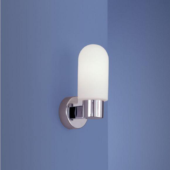 Wandleuchte in Chrom mit mattem Opalglas - optimale Badbeleuchtung