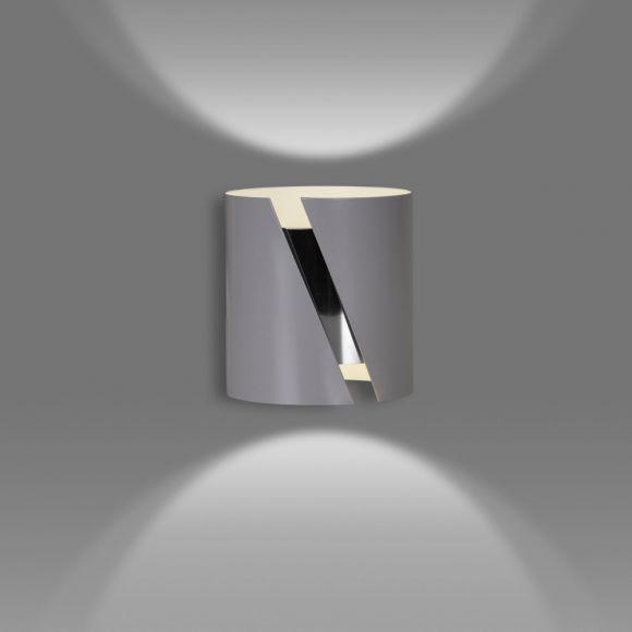 LHG Wandleuchte, Up & Down Light, modern, grau, Zylinder, Querschlitz, LED