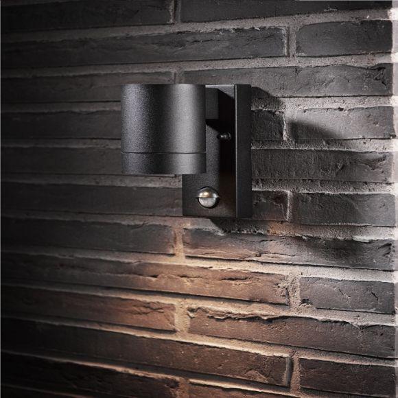 Wandleuchte Downlight mit Bewegungsmelder, Schwarz - 1-flammig, IP54