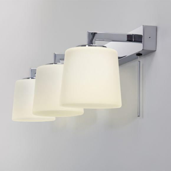 Wandleuchte fürs Badezimmer in Chrom mit Opalgläsern inkl. 3xG9 40 Watt, mit Zugschalter