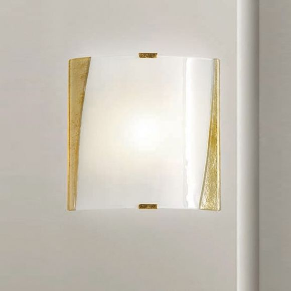 Wandleuchte Glas mit Rahmen Gold oder Silber