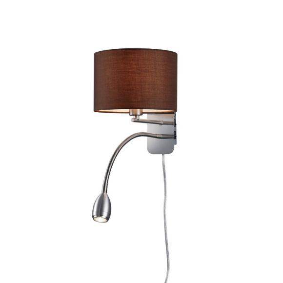 LHG Wandleuchte Hotel mit LED-Leselicht, Schirm cappucino