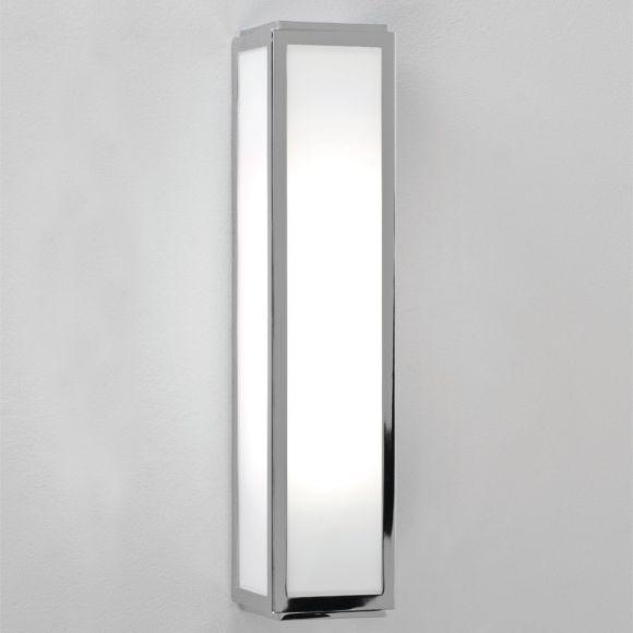 Wandleuchte Mashiko eckig in Silber, 36 cm