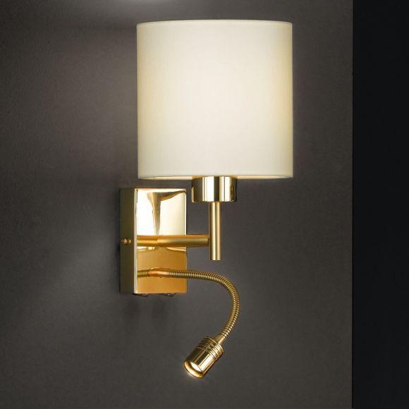 Wandleuchte in Messing matt/ poliert - Verstellbares Gelenk - Flexarm inkl. Power LED - Lampenschirm champagner -  inklusive E27 AGL 40W