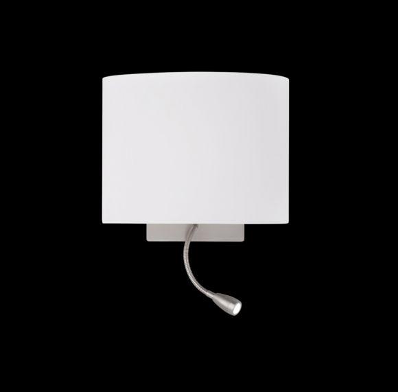 Wandleuchte Milla, LED-Arm, Stoffschirm cappuccinofarben