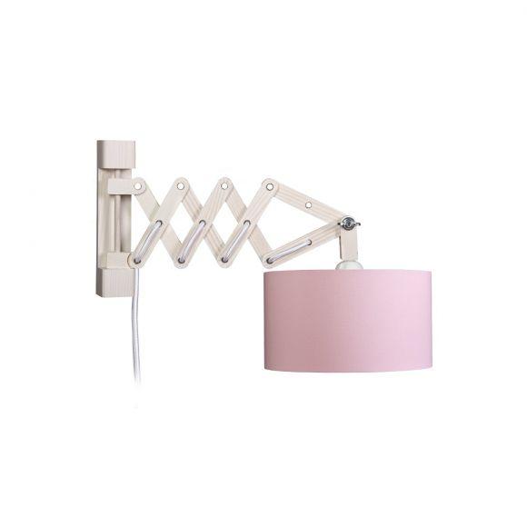 Wandleuchte mit rosa Schirm, zwei Varianten