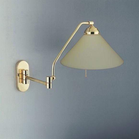 wandleuchte mit zugschalter schwenkbar in messing poliert wohnlicht. Black Bedroom Furniture Sets. Home Design Ideas