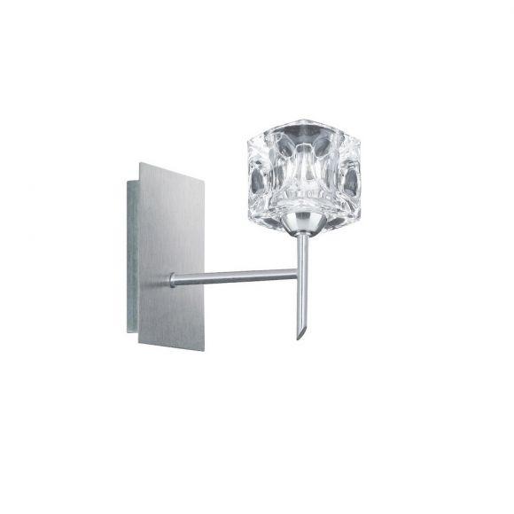 Wandleuchte in Silber mit Gläsern in Eiswürfeloptik 2 Größen