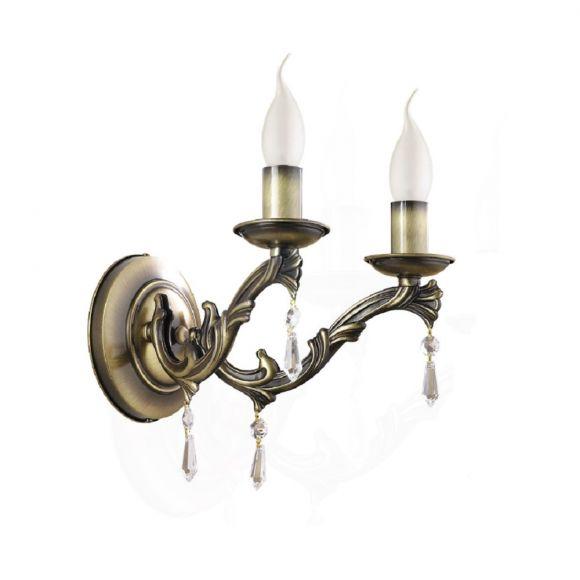 Wandleuchte, antik, Kerzenleuchte, 2 flammig, Altmessing