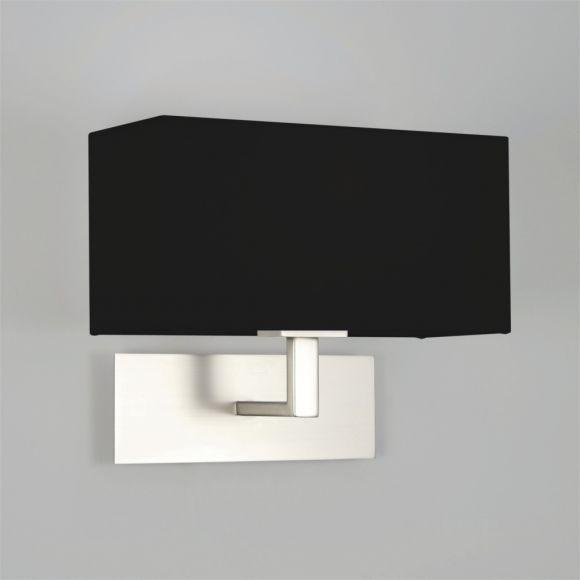Wandleuchte, eckig, modern, Nickel-matt, Schirm schwarz, Breite 25 cm
