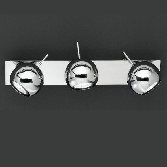 Wand-oder Deckenstrahler in Chrom mit beweglichen Kugelspots, inkl. Leuchtmittel 3x50 Watt