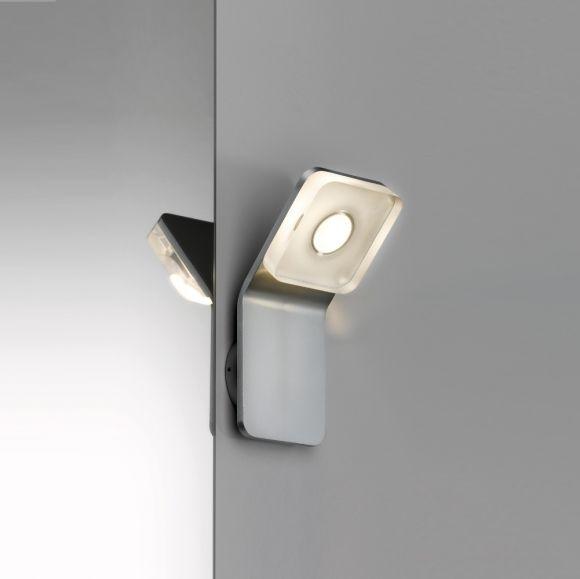 Wand- und Spiegelleuchte eckig aus rostfreien Materialien, mit IP-Schutz inklusive 1 x 4,5 Watt  LED, 3000 K warmweiß