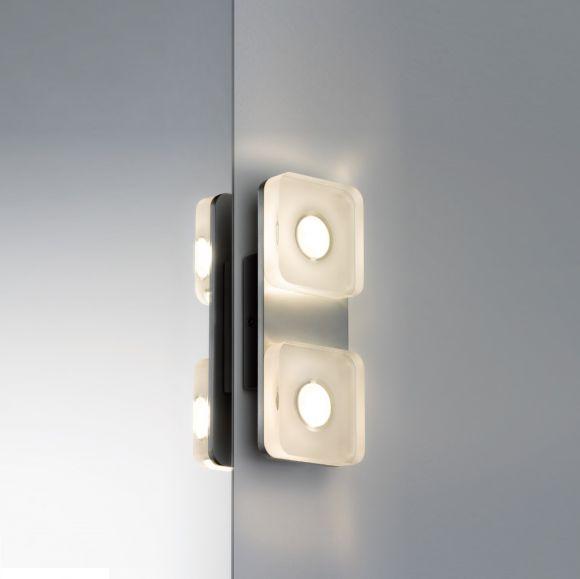 Wand- und Spiegelleuchte eckig aus rostfreien Materialien, mit IP-Schutz inklusive 9Watt  LED, 3000 K warmweiß