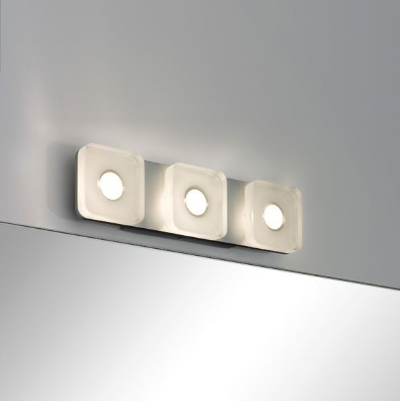 Wand- und Spiegelleuchte eckig, aus rostfreien Materialien, mit IP-Schutz inklusive 13,5 Watt  LED, 3000 K warmweiß