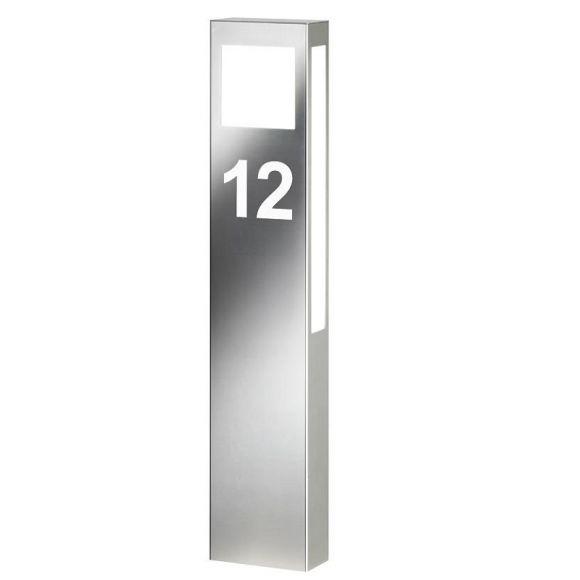 Wegeleuchte mit Hausnummer aus Edelstahl