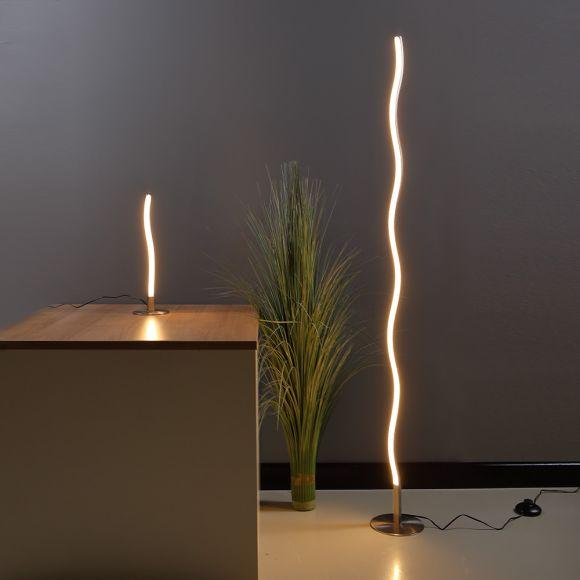 LED Stehleuchte, Stehlampe Wellen Optik, Farbe silber, Schnurschalter, 1000 Lumen