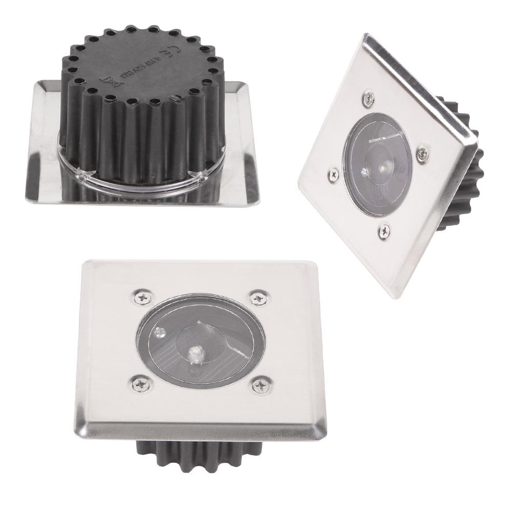 LHG 10-er Set LED-Solar-Bodeneinbauleuchte McShine  IP44 Edelstahlfront eckig