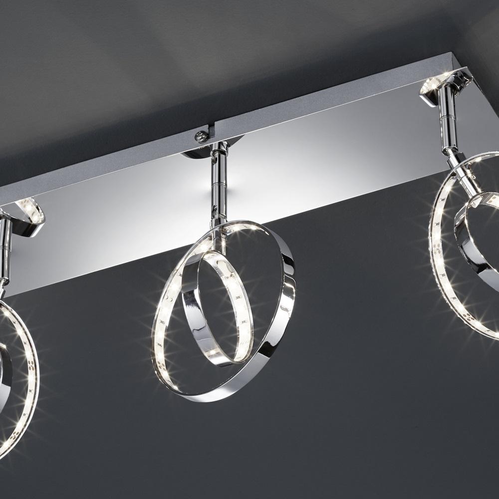 3-flg. LED- Deckenstrahler mit runden Köpfen - Chrom - 3 x 4 Watt LED