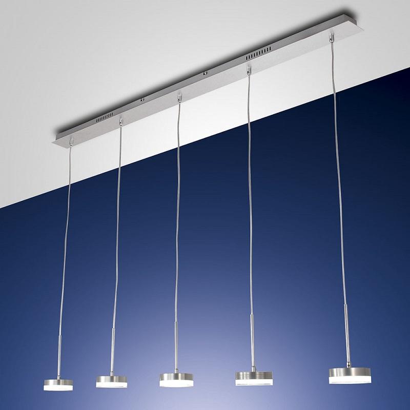 5-flg. LED-Pendelleuchte, Aluminium, Acrylglas weiß, dimmbar