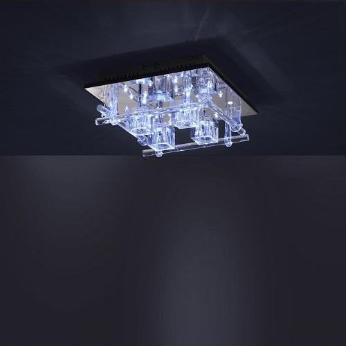LHG Deckenleuchte mit 24 blauen LEDs und Fernbedienung, Kristallglas klar  und LED Taschenlampe