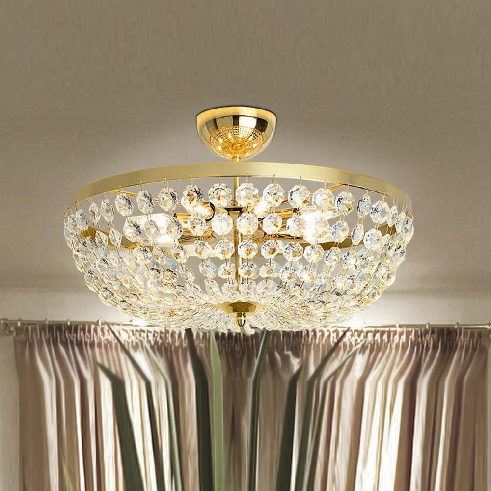 Deckenleuchte mit Glasketten, 3 Größen in Gold 24 K