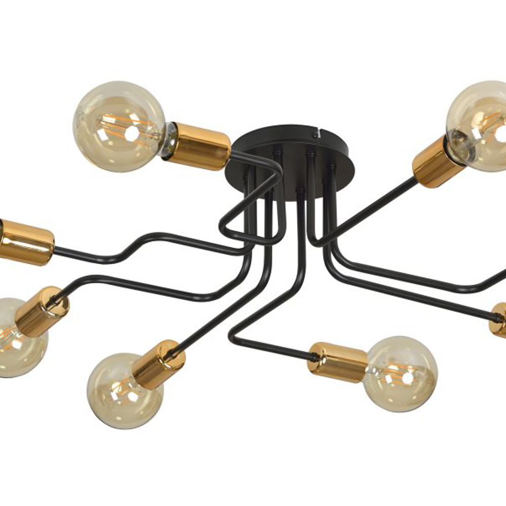 Deckenleuchte, vintage, schwarz, kupfer, 8-flammig, 8x LED E27 5 W