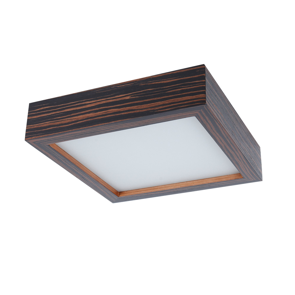 Deckenleuchte, Zebrano dunkel, Furnierholz, eckig, modern
