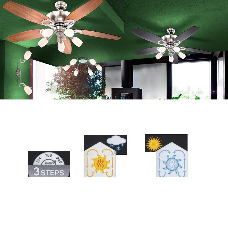 LHG Deckenventilator beleuchtet in Nickel-matt mit fünf Opalgläsern und Zugschalter Flügel in Graphit und Buche, inklusive Leuchtmittel E14 40Watt