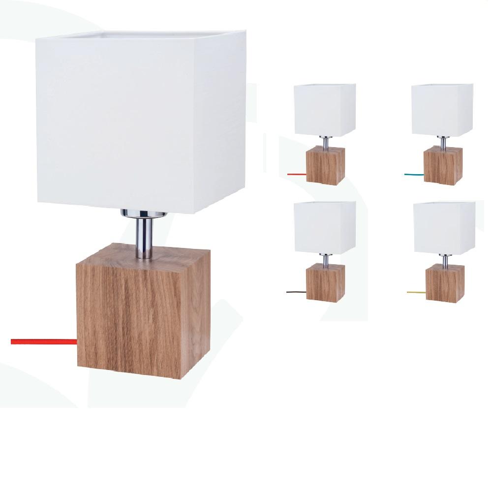 Eckige Tischleuchte Trongo mit Stoffschirm, Holz Eiche Kabel wählbar
