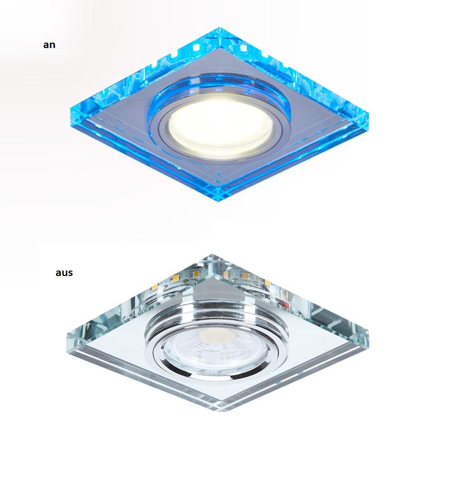 LHG Einbaustrahler, eckig, LED-Hintergrundlicht blau, 9x9cm, inkl Halogen