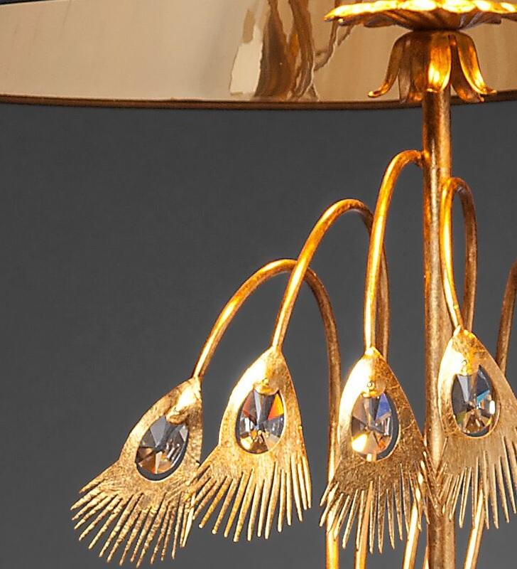 Erlesene Stehleuchte - Blattgold Weiß - Transparente Kristalle