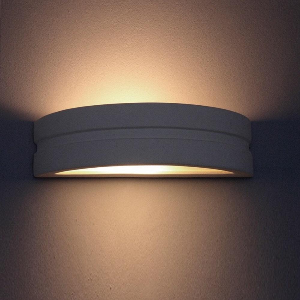 Gips Wandleuchte Omega D, indirektes Licht