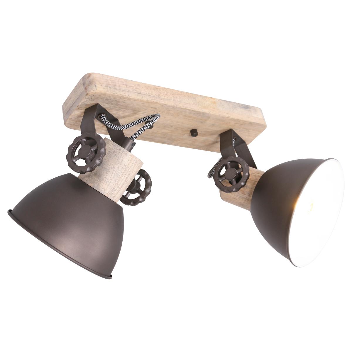 industrieller Deckenstrahler aus Holz, 2-flammig, dreh- und kippbar, verstellbar über Einstellräder, in 4 Farben, E27